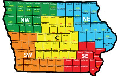 Iowa Reading Association's Regions Map